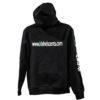 back of kishels scents black hooded sweatshirt with logo